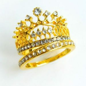 2 PCs Imperial Queen Crown 18K Gold Ring Set